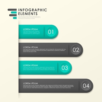 Modern paper texture bookmark infographic elements template