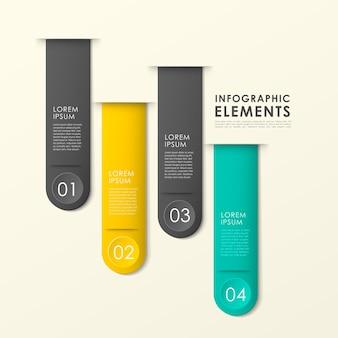 현대 종이 질감 책갈피 infographic 요소 템플릿
