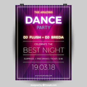 Modern party poster with neon lights
