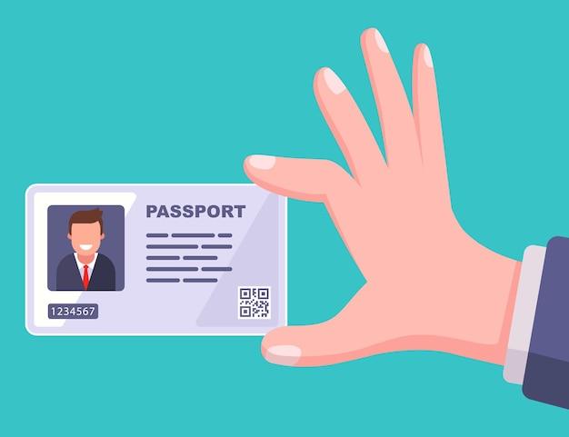 현대 여권 플라스틱 카드. 평면 그림.