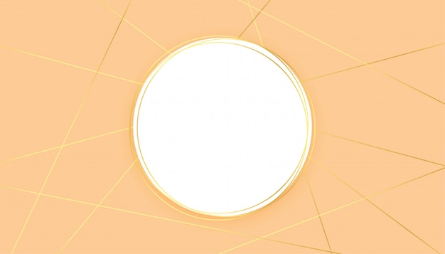 Modern pastel background with golden lines shapes and circle frame