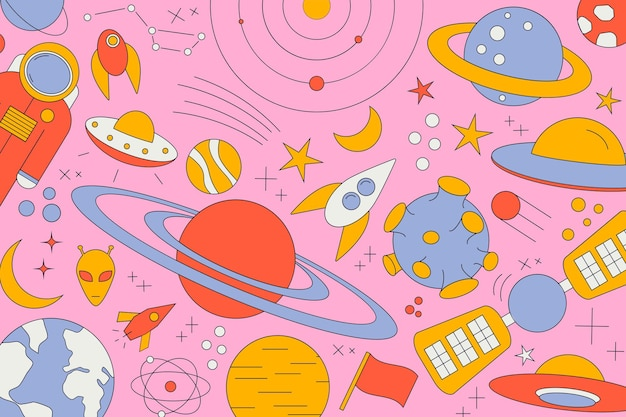 Modern pattern of planet, star, comet, with different rockets. universe line drawings. cosmos. trendy space signs, constellation, moon. doodle style, icon, sketch. on dark background.
