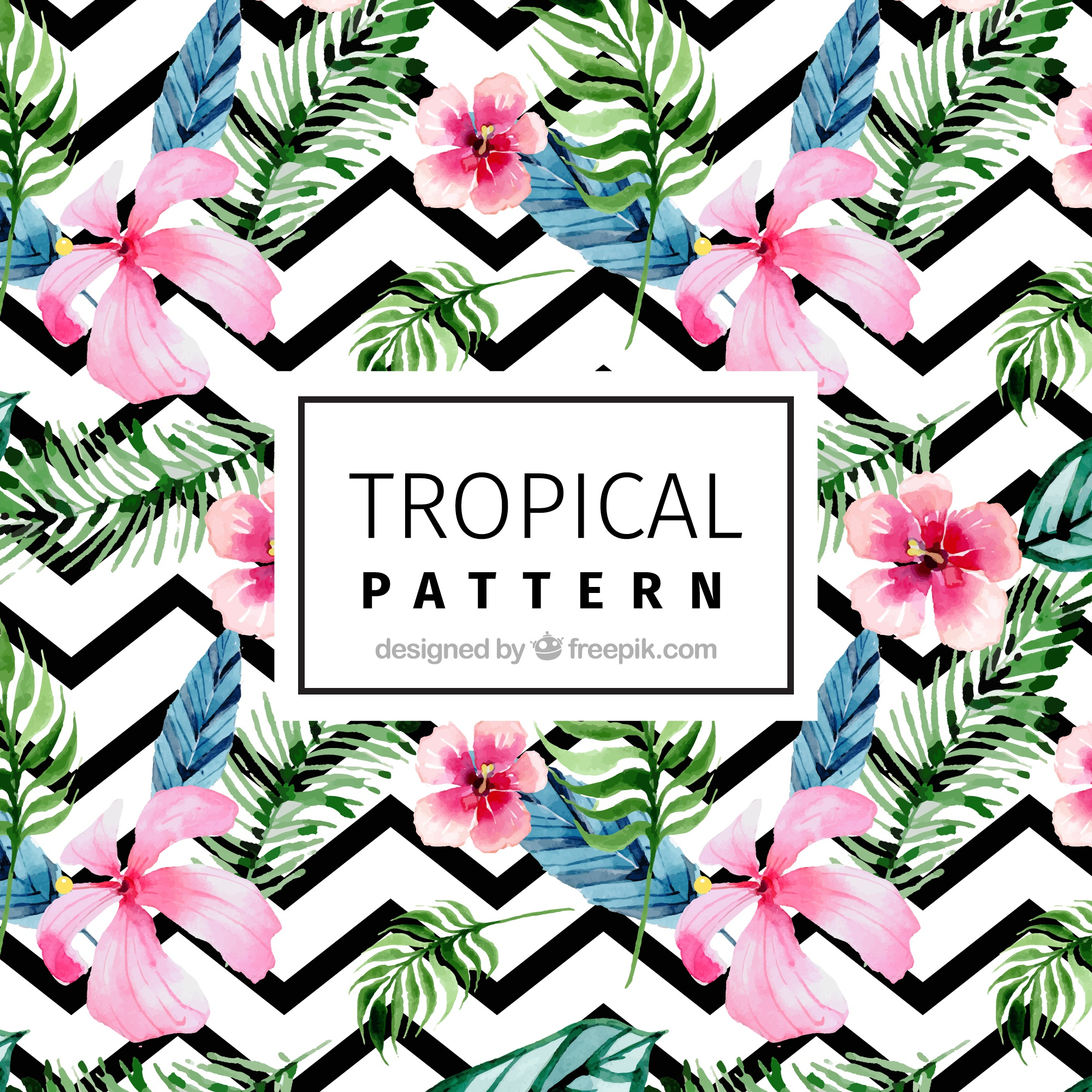 Modern pattern with tropical watercolor flowers