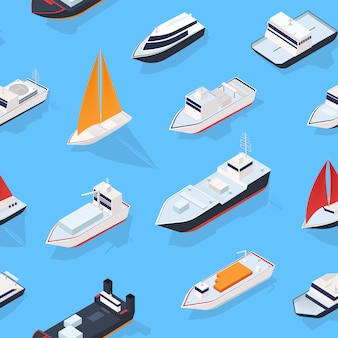 Modern pattern with various isometric ships, sailing boat and marine vessels.