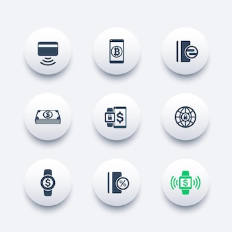 Modern payment methods vector icons