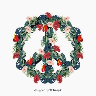 Современный символ мира с цветочным стилем Бесплатные векторы