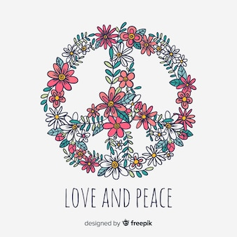 Modern peace symbol with floral style