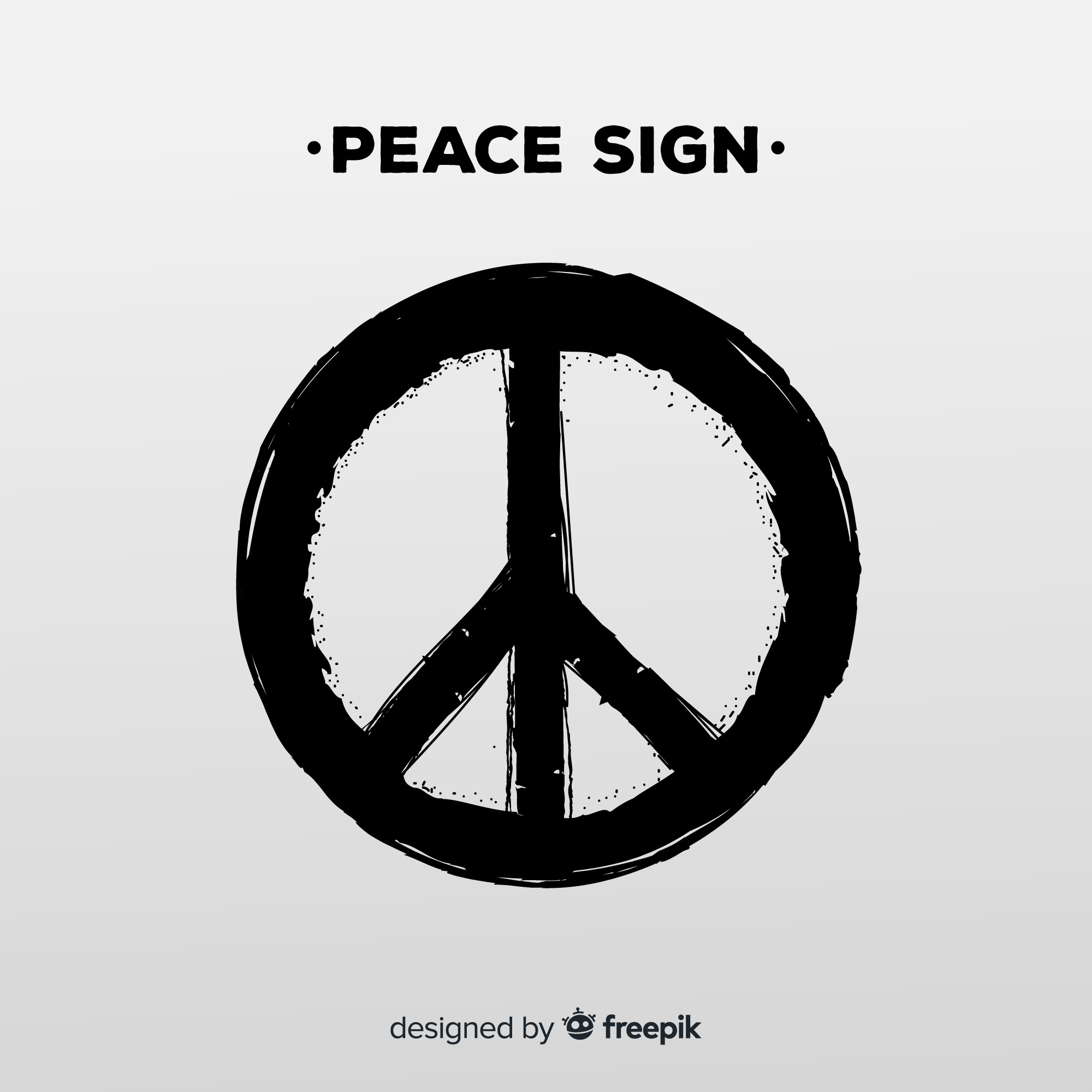 Modern peace symbol with grunge style