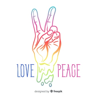 Modern peace symbol with hand showing two fingers