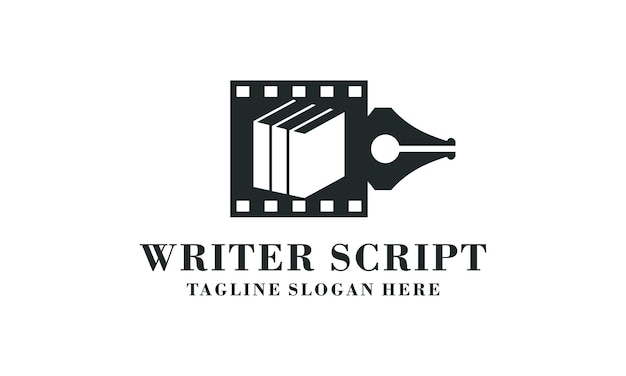 Modern pen and film sign logo design