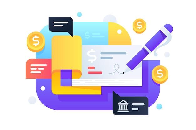 銀行システムからの送金のための現代のペンサイン小切手帳。キャッシュレス支払いと保護ドルのためのサービスのアイコンの概念。