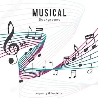 Moderno sfondo pentagramma e note musicali
