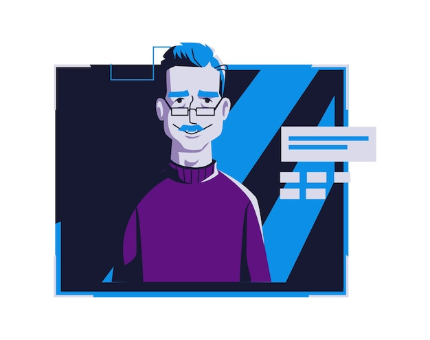 カジュアルな服装の現代人アバター、ベクトル漫画イラスト。個々の顔と髪の男、ダークブルーのコンピューターの明るいデジタルフレーム、webプロファイルの画像