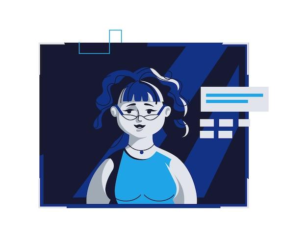 カジュアルな服装の現代人アバター、ベクトル漫画イラスト。個々の顔と髪の女性、ダークブルーのコンピューターの明るいデジタルフレーム、webプロファイルの画像