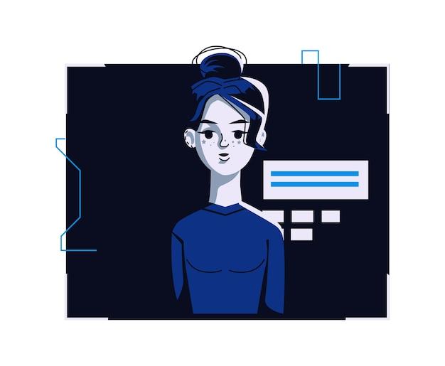 カジュアルな服装の現代人アバター、ベクトル漫画イラスト。ダークブルーのコンピューターの明るいデジタルフレームで、個々の顔と髪の女性