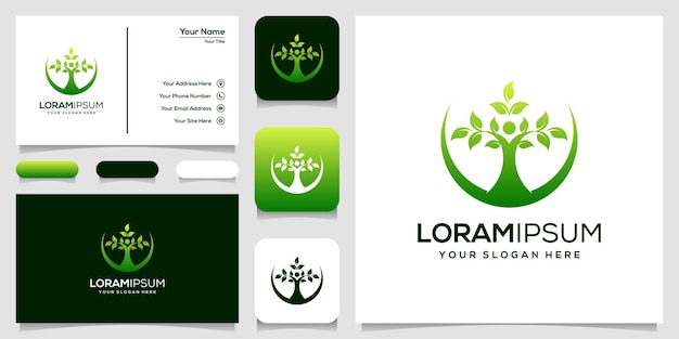 Modern people leaf logo template business card