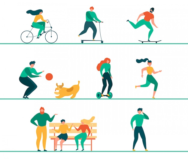 Modern people outdoor activities flat vector set