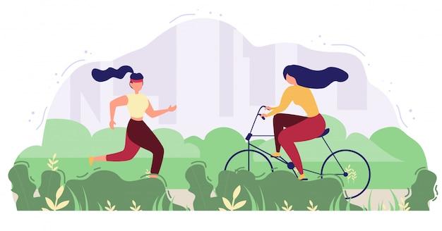 Modern people outdoor activity flat vector