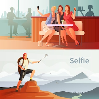 Modern people selfie set