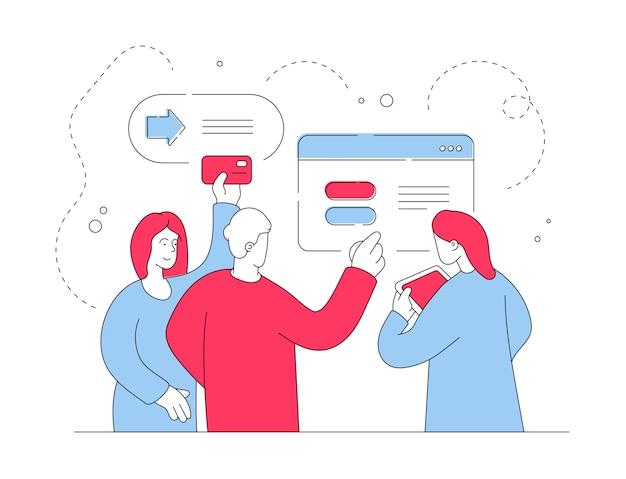 Современные люди переводят деньги онлайн. плоская линия иллюстрации