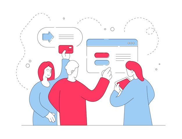 Modern people transferring money online. flat line   illustration