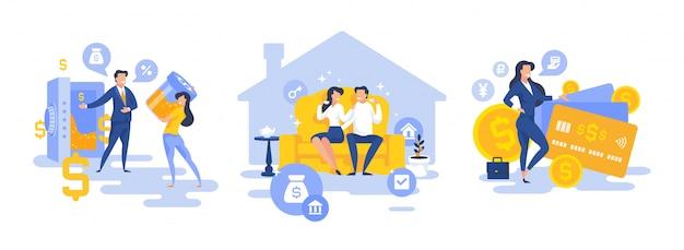 Современные люди, пользующиеся банковскими услугами, набор плоских персонажей