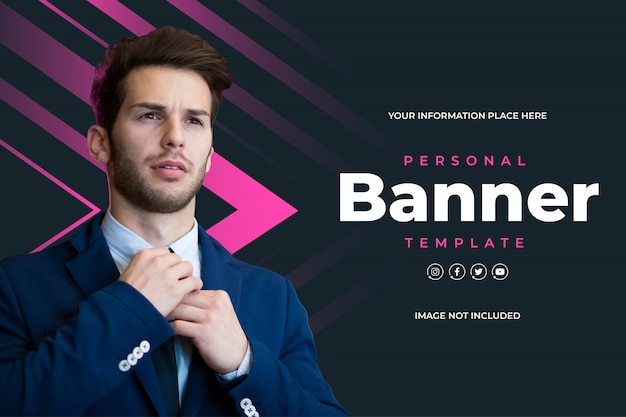 Modern personal banner template with pink geometrics shapes