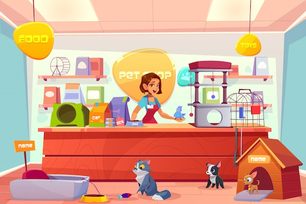 Modern pet shop interior cartoon
