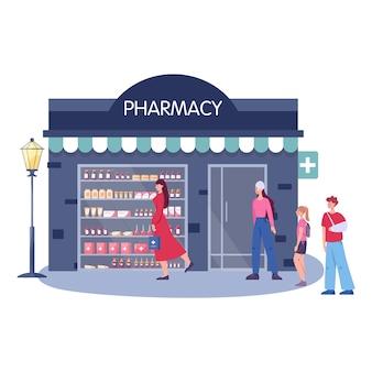Внешний вид здания современной аптеки. люди заказывают и покупают лекарства