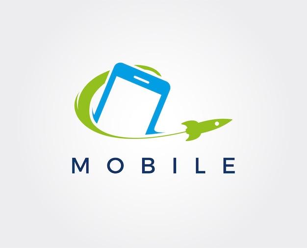 Современный телефон booster логотип с символом ракеты элегантный быстрый телефон логотип шаблон вектор