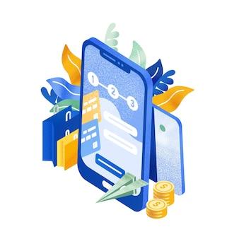 현대적인 전화나 스마트폰, 날아다니는 종이 비행기, 동전, 쇼핑백. 즉시 송금 서비스, 전자 뱅킹, 모바일 결제. 화려한