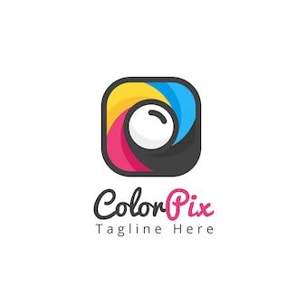 Modern photography camera app icon logo template