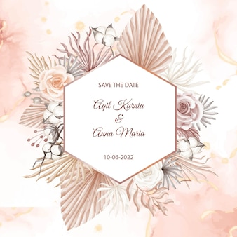 현대 핑크 boho 스타일 웨딩 카드 초대장 템플릿