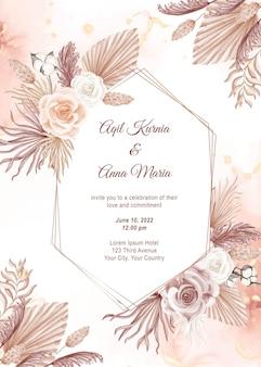 Шаблон приглашения свадебной открытки в современном розовом стиле бохо