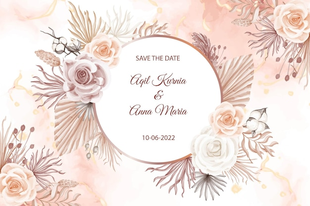モダンなピンクの自由奔放に生きるスタイルのウェディングカードの招待状のテンプレート