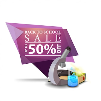 Modern pink geometric discount banner to the back to school with microscope