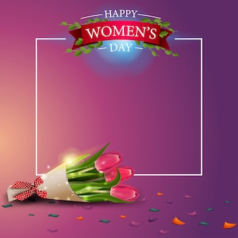 Modern pink greeting postcard template to the women's day