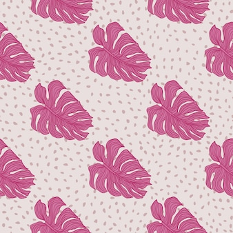 Modern pink monstera leaves silhouette seamless pattern on dots background