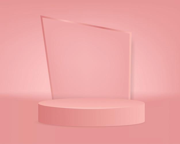 Modern pink podium background Premium Vector