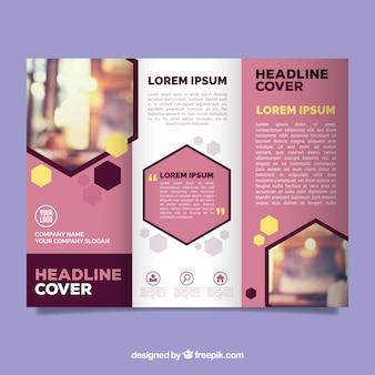 Modern pink trifold business brochure template