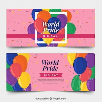 Modern pink world pride day banners