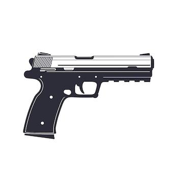 Modern pistol, handgun isolated on white, illustration