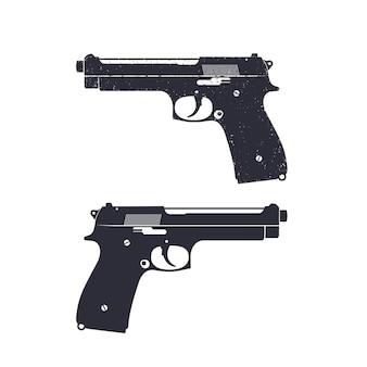 Современный пистолет с гранжевой текстурой