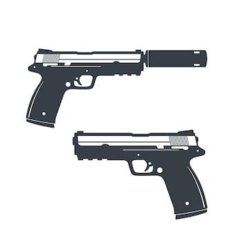 サイレンサー、拳銃、白で隔離される銃を持つ現代のピストル