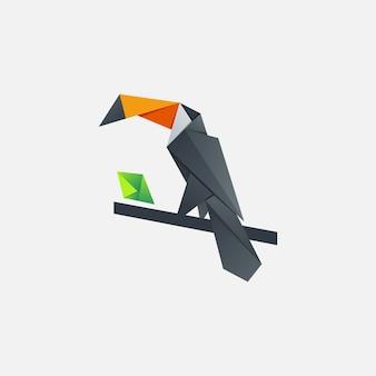 Modern pixel toucan logo