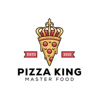 Modern pizza king for business food logo design   template