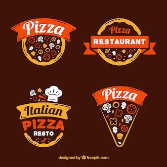 Современная коллекция логотипов пиццы