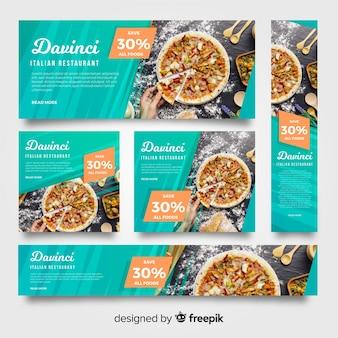 Bandiere moderne del ristorante della pizza con la foto