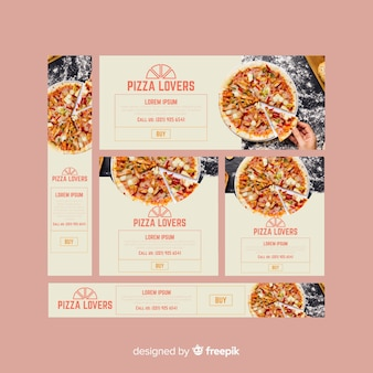 Modern pizza restaurant banners with photo