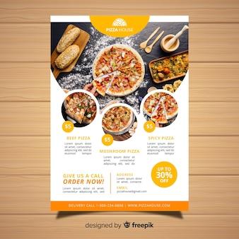 Современный шаблон флаера ресторана для пиццы